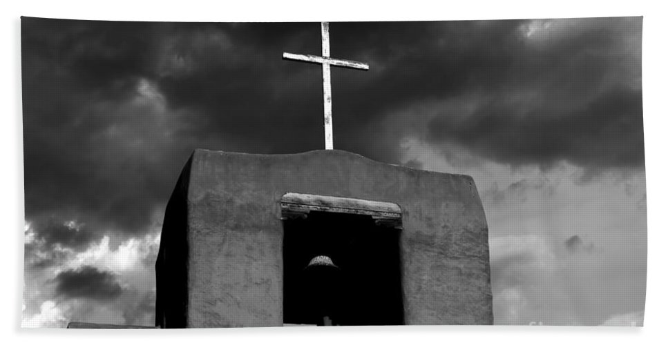 Cross Hand Towel featuring the photograph Cross And Bell by David Lee Thompson