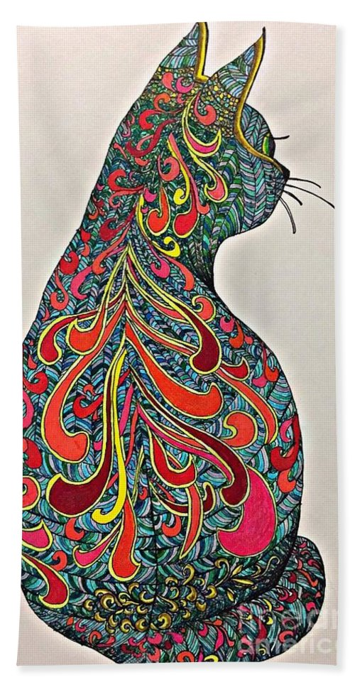 Cat Kitten Tattoo Psychedelic Grace Abstract Harlequin Bath Sheet featuring the digital art Cybele by Susan Dietz