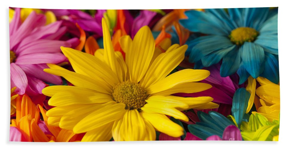 Abstract Hand Towel featuring the photograph Daisies Petals by Jim Corwin