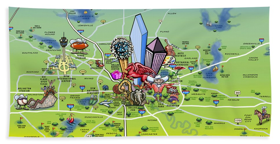 Dallas Hand Towel featuring the painting Dallas Texas Cartoon Map by Kevin Middleton