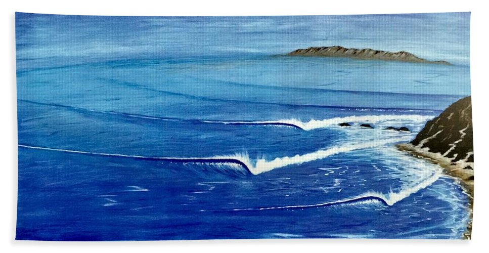 Danapoint Bath Towel featuring the painting Dana Point 1950s 1 by Paul Carter