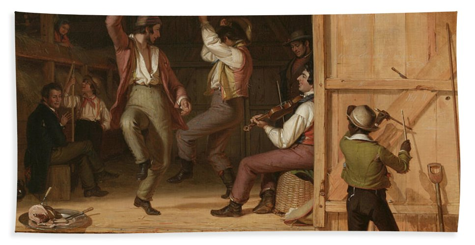 Dance Of The Haymakers (music Is Contagious) By William Sydney Mount Bath Sheet featuring the painting Dance Of The Haymakers by William Sydney Mount