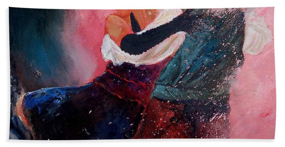 Music Hand Towel featuring the painting Dancing Tango by Pol Ledent
