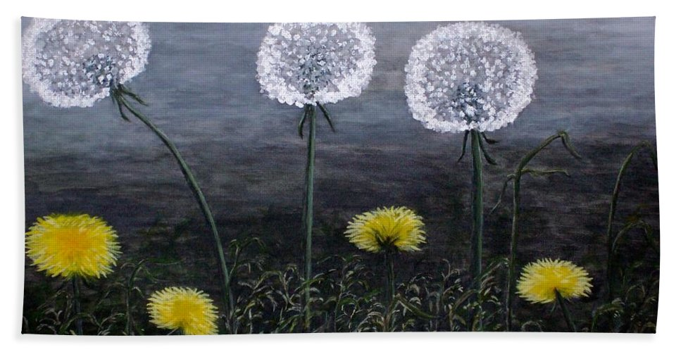 Dandelion Bath Sheet featuring the painting Dandelion Family by Judy Kirouac