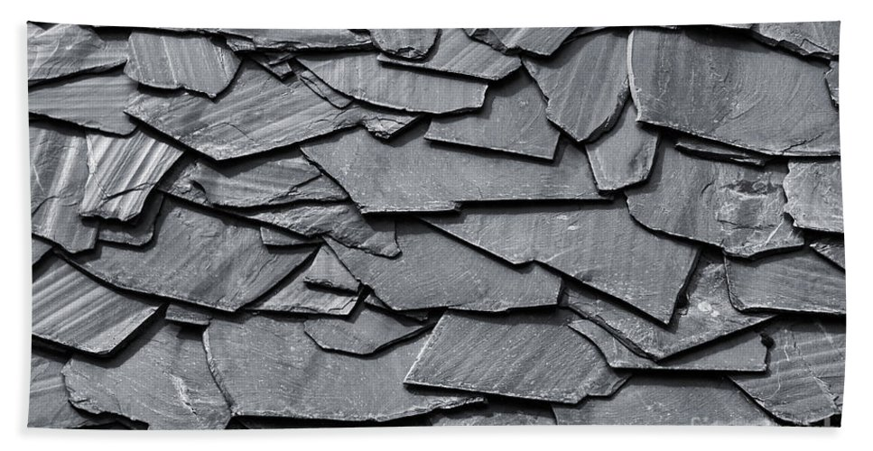 Slate Hand Towel featuring the photograph Dark Schist Blades by Carlos Caetano