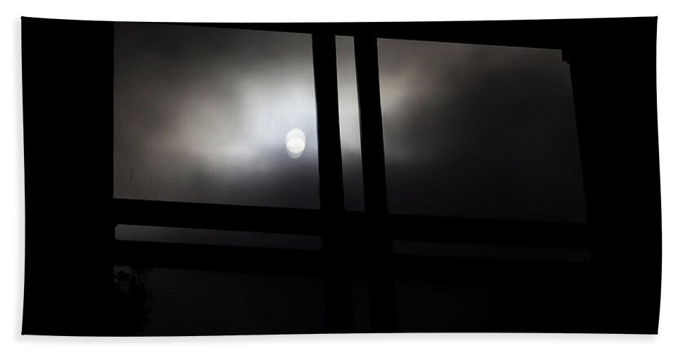 Gothic Bath Sheet featuring the digital art Dark Window by Kathleen Illes