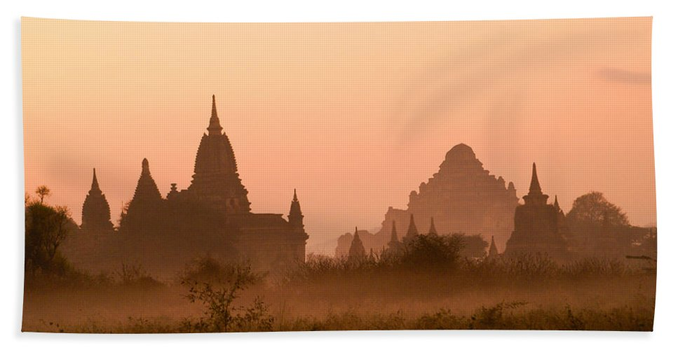 Sunrise Hand Towel featuring the photograph Dawn In Burma by Michele Burgess