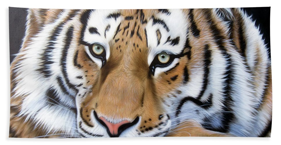 Tiger Hand Towel featuring the painting Daydream by Sandi Baker