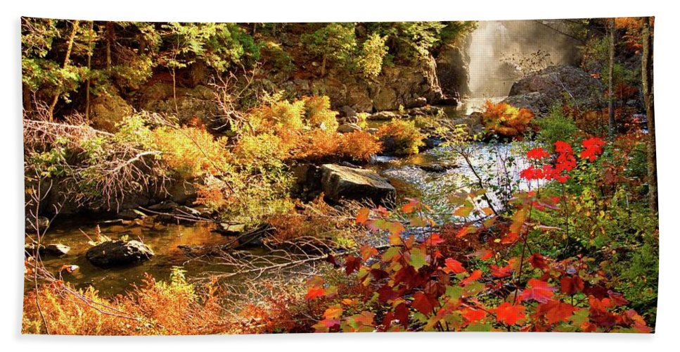Dead River Falls Hand Towel featuring the photograph Dead River Falls Marquette Michigan by Michael Bessler