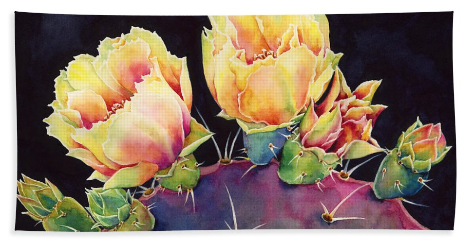 Cactus Hand Towel featuring the painting Desert Bloom 2 by Hailey E Herrera