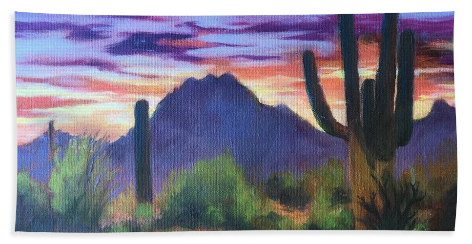 Landscape Hand Towel featuring the painting Desert Sunset by Lilo Buppert
