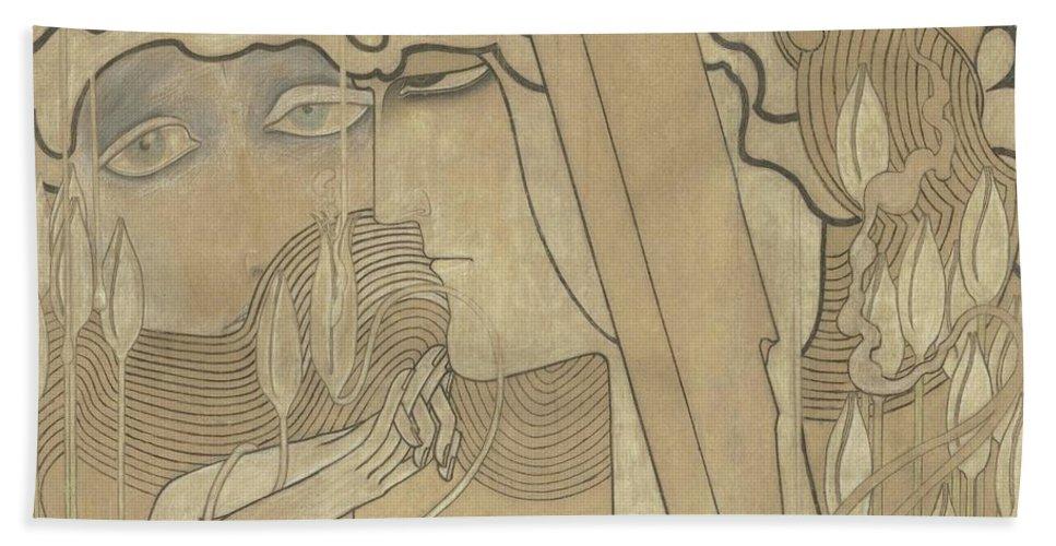 Toorop (jan) - Desire And Satisfaction 1893 Bath Sheet featuring the painting Desire And Satisfaction by MotionAge Designs