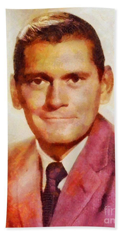 Hollywood Bath Sheet featuring the painting Dick York, Vintage Hollywood Actor by Sarah Kirk