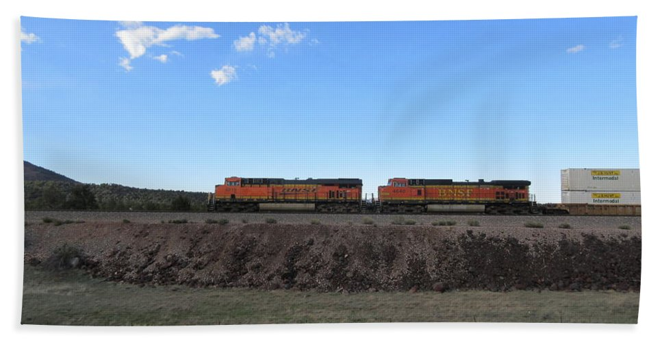 Diesel Hand Towel featuring the photograph Diesel Train Engines by Frederick Holiday
