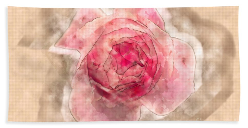 Softness Hand Towel featuring the photograph Digitally Manipulated Pink English Rose by Humorous Quotes