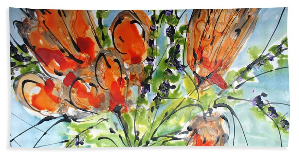 Flowers Bath Sheet featuring the painting Divine Blooms-21197 by Baljit Chadha