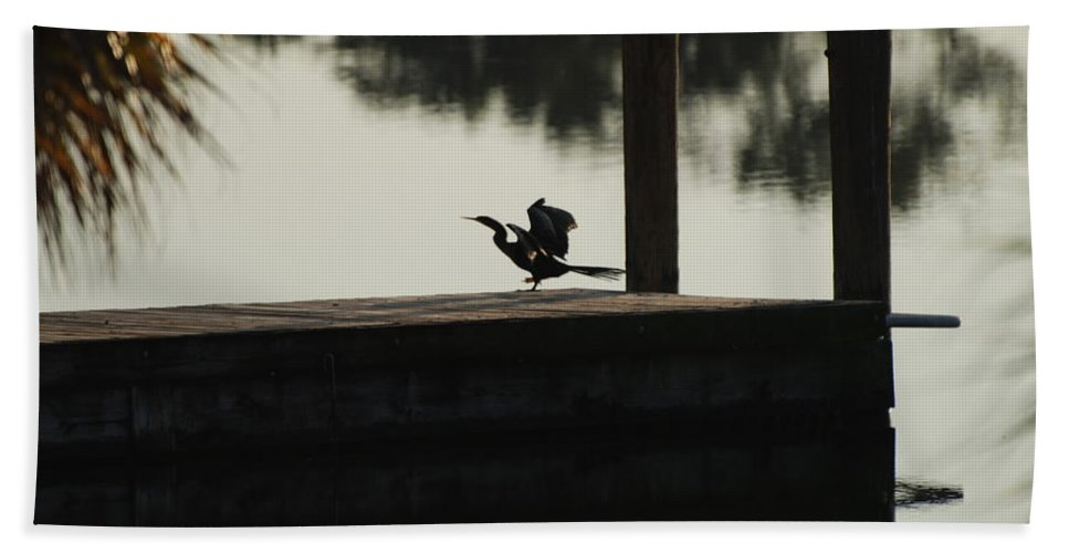 Reflections Hand Towel featuring the photograph Dock Bird by Rob Hans