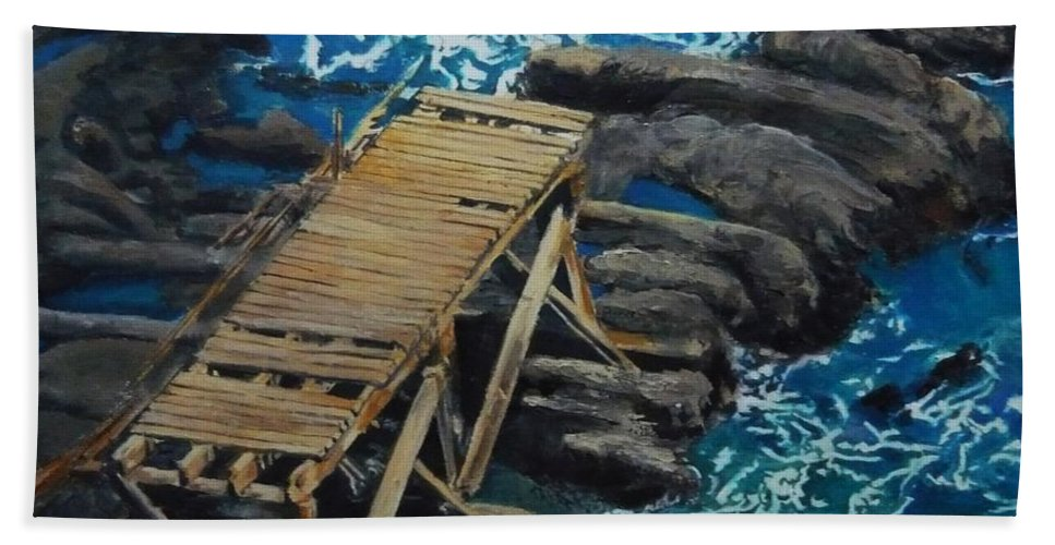 Dock Hand Towel featuring the painting Dock by Travis Day