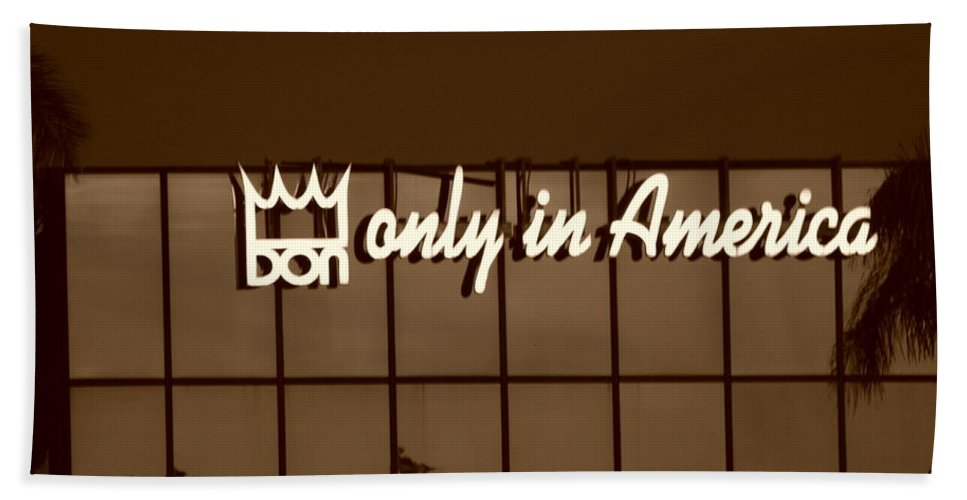 Sepia Bath Towel featuring the photograph Don King Only In America by Rob Hans