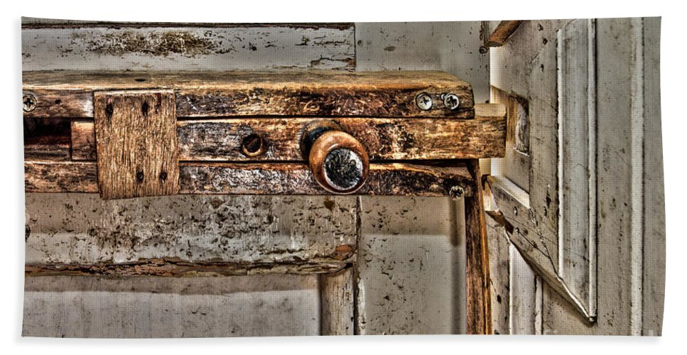 Wood Hand Towel featuring the photograph Door Latch by William Norton