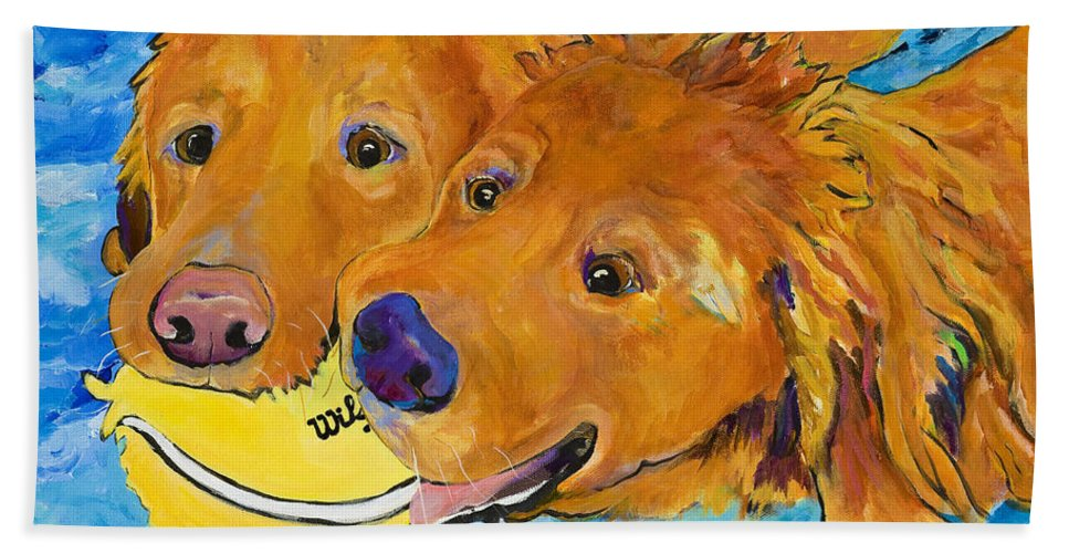 Golden Retriever Bath Towel featuring the painting Double Your Pleasure by Pat Saunders-White