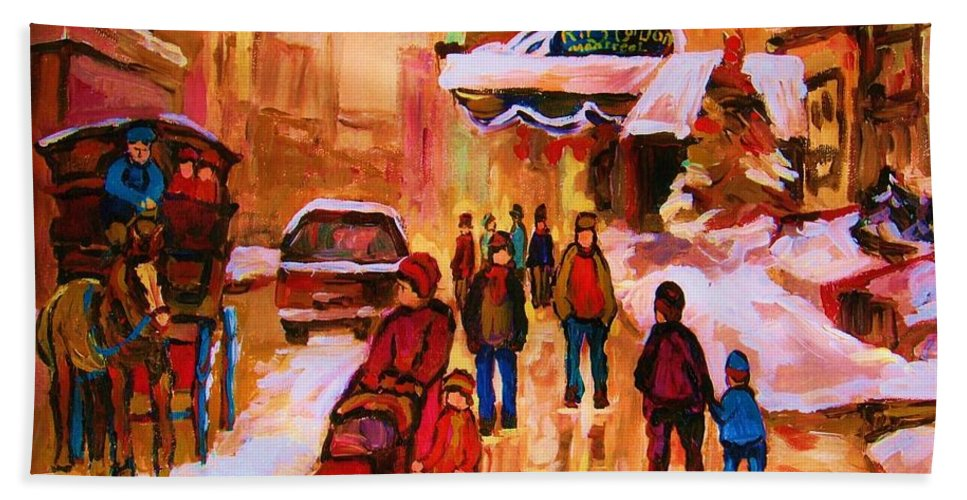 Downtown Montreal Bath Towel featuring the painting Downtown Montreal by Carole Spandau