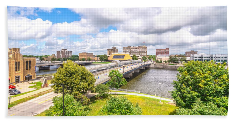 Waterloo Hand Towel featuring the photograph Downtown Waterloo Iowa by Amel Dizdarevic