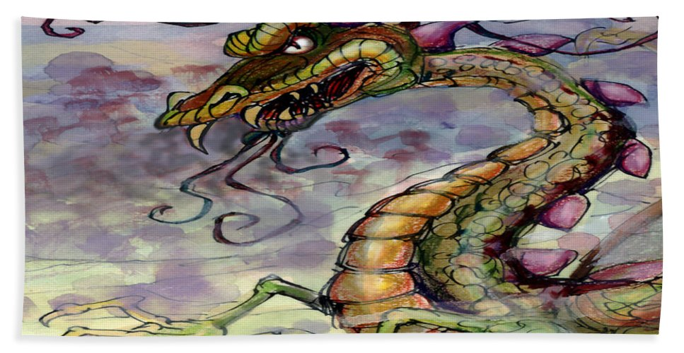 Dragon Hand Towel featuring the painting Dragon by Kevin Middleton