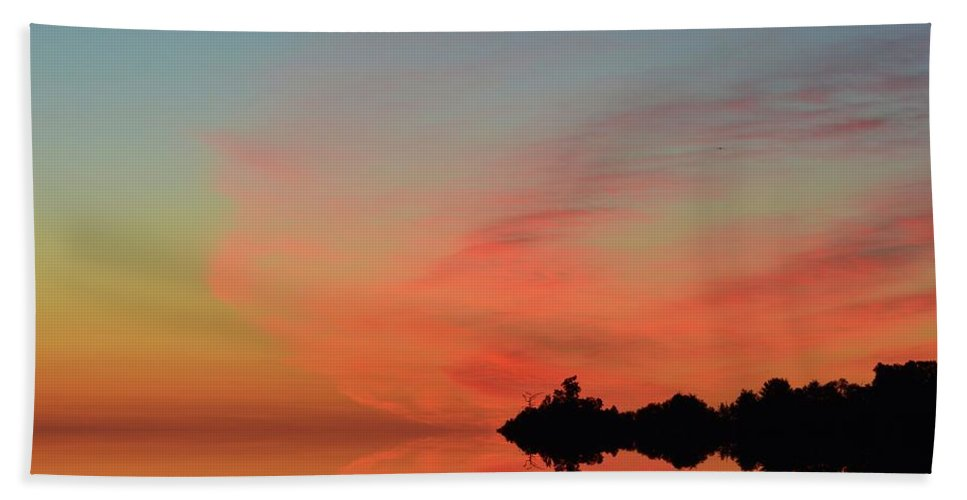 Abstract Bath Sheet featuring the digital art Early Morning Clouds Two by Lyle Crump