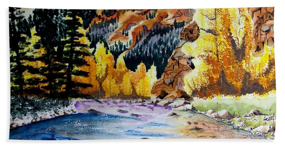 Creek Bath Sheet featuring the painting East Clear Creek by Jimmy Smith