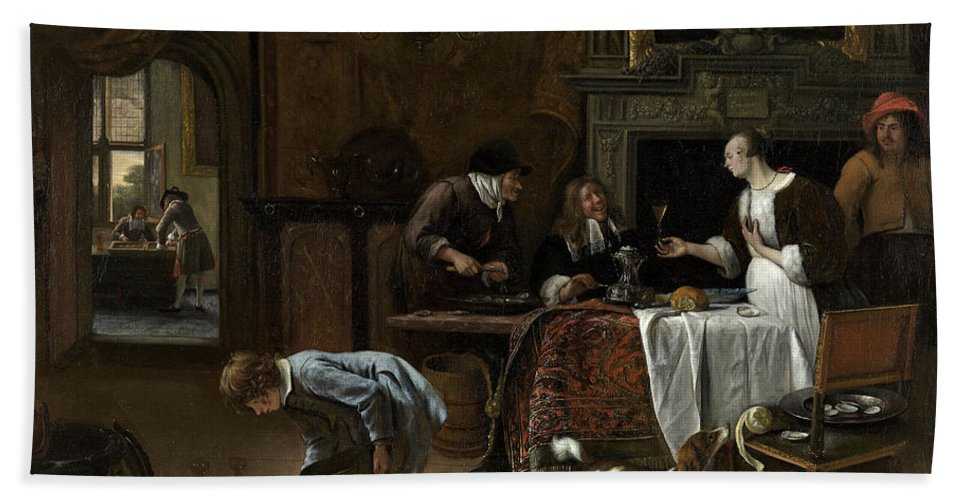 Animal Hand Towel featuring the painting Easy Come, Easy Go by Jan Steen
