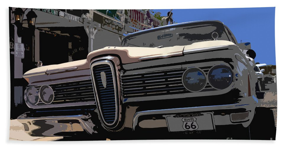 Route 66 Hand Towel featuring the painting Edsel On Route 66 by David Lee Thompson