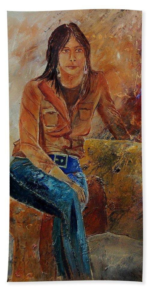 Girl Bath Towel featuring the painting Eglantine 579001 by Pol Ledent