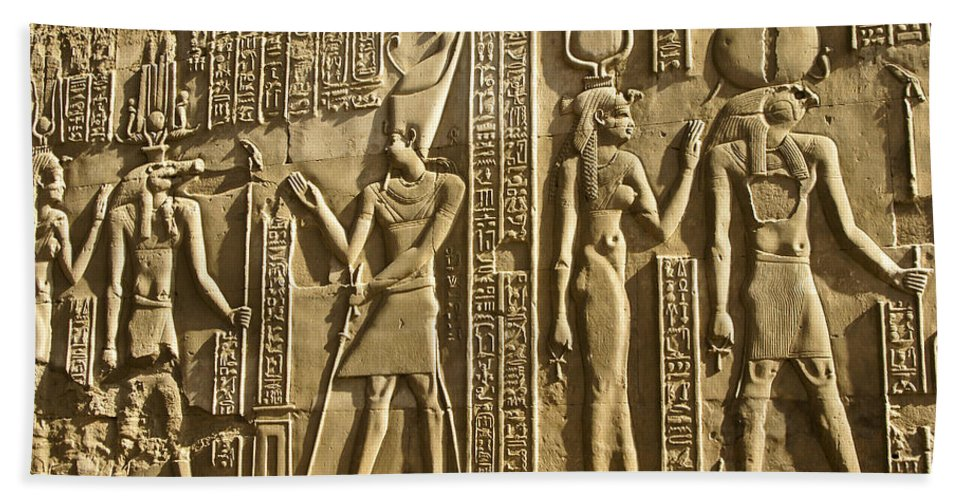 Egypt Hand Towel featuring the photograph Egyptian Temple Art by Michele Burgess