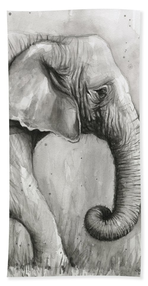 Elephant Hand Towel featuring the painting Elephant Watercolor by Olga Shvartsur