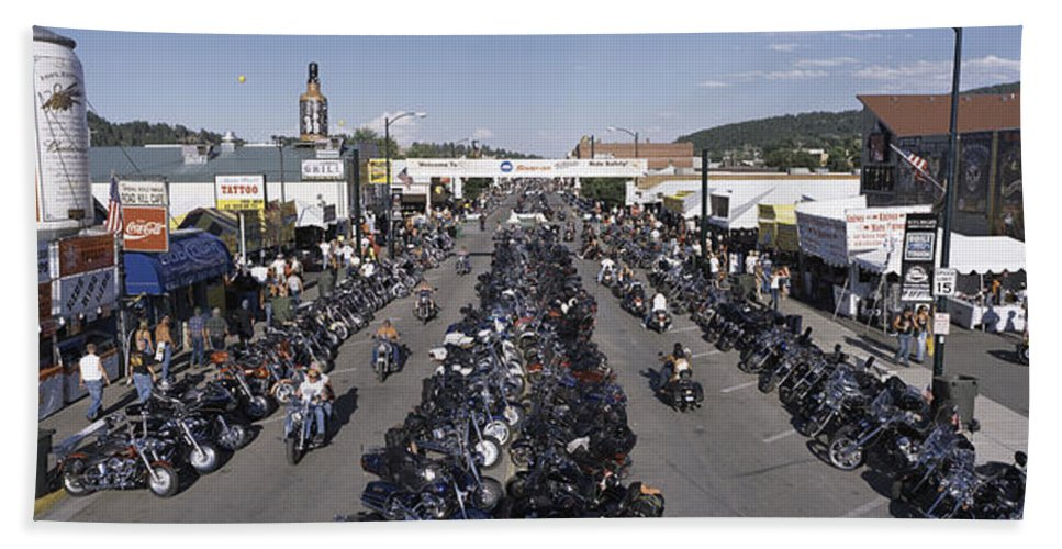 Photography Bath Sheet featuring the photograph Elevated Panoramic View Of Main Street by Panoramic Images
