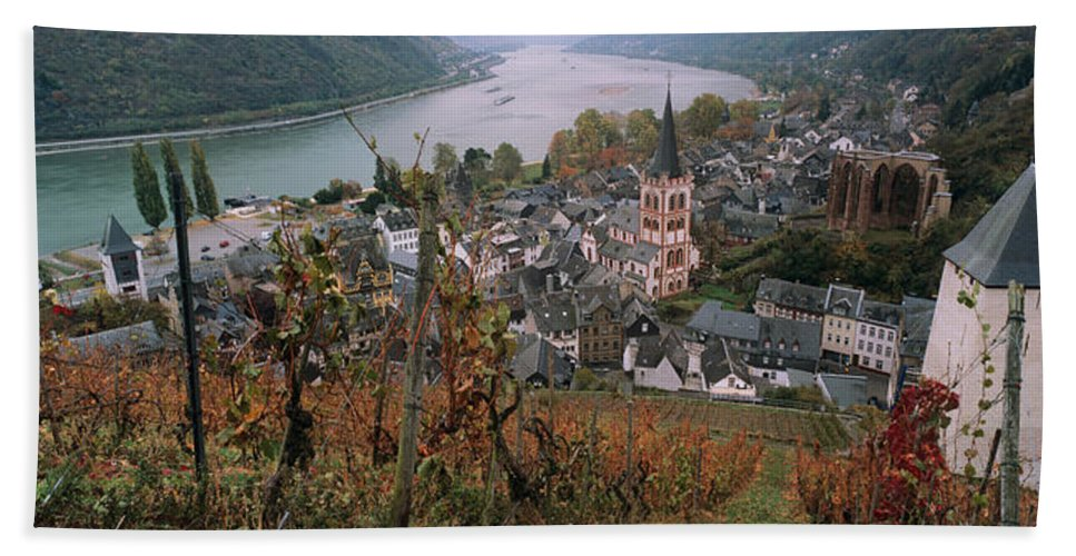 Photography Bath Sheet featuring the photograph Elevated View Of Bacharach by Panoramic Images