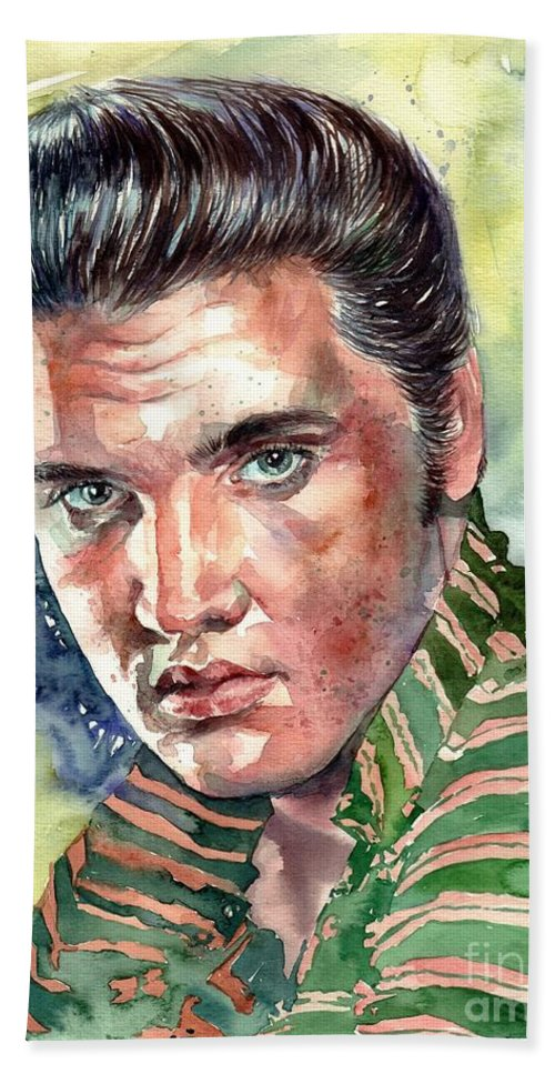 Elvis Hand Towel featuring the painting Elvis Presley portrait by Suzann Sines