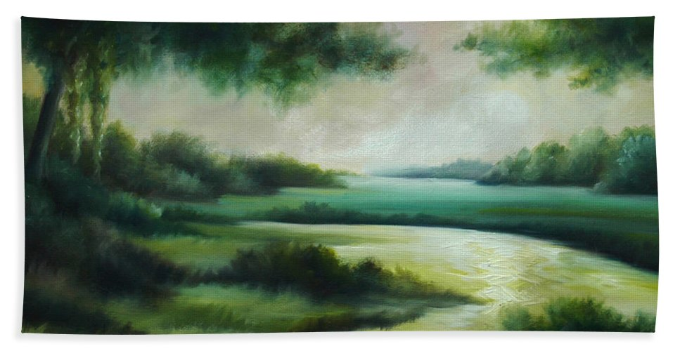 Bright Clouds; Sunsets; Reflections; Ocean; Water; Purple; Orange; Storms; Lightning; Contemporary; Abstract; Realism; James Christopher Hill; James Hill Studios; James C. Hilll; Forest; Flowers; Trees; Green; River; Water Bath Towel featuring the painting Emerald Forest by James Christopher Hill
