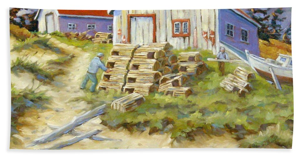 Art Bath Towel featuring the painting End Of Lobster Season by Richard T Pranke