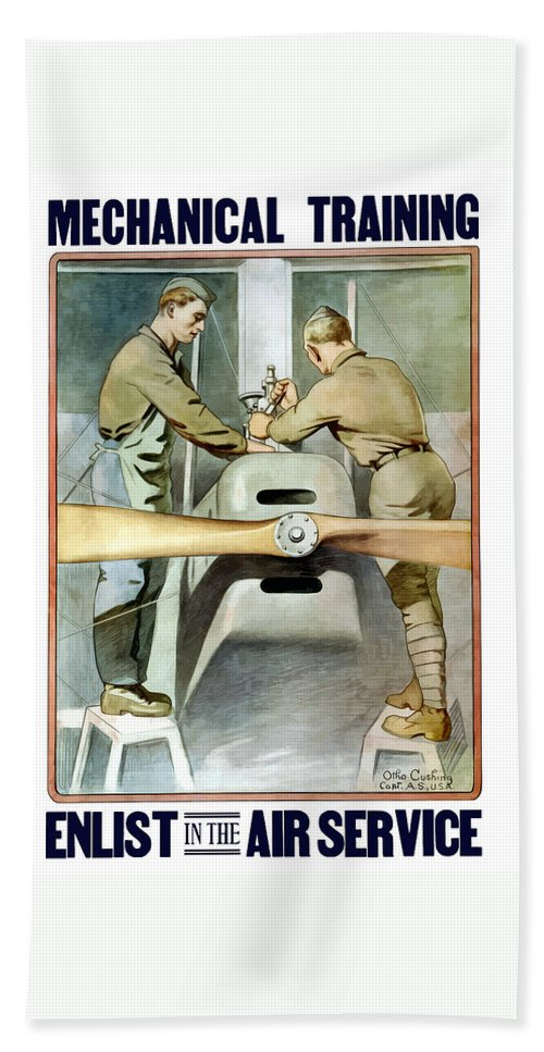 Ww1 Bath Towel featuring the painting Mechanical Training - Enlist In The Air Service by War Is Hell Store