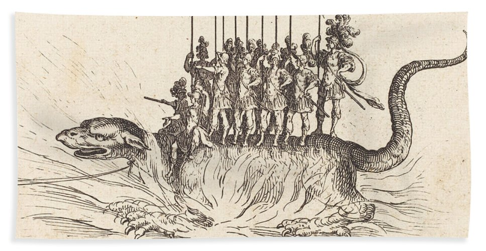 Hand Towel featuring the drawing Entry Of Monseigneur Henry De Lorraine, Marquis De Moy, Under The Name Of Pirandre by Jacques Callot
