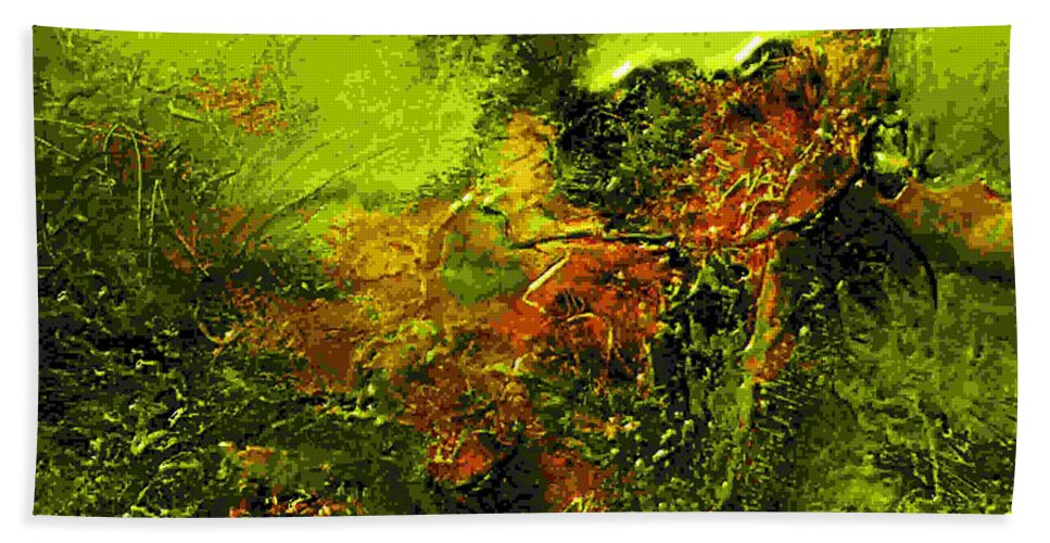 Eruption Hand Towel featuring the mixed media eruption II by Dragica Micki Fortuna