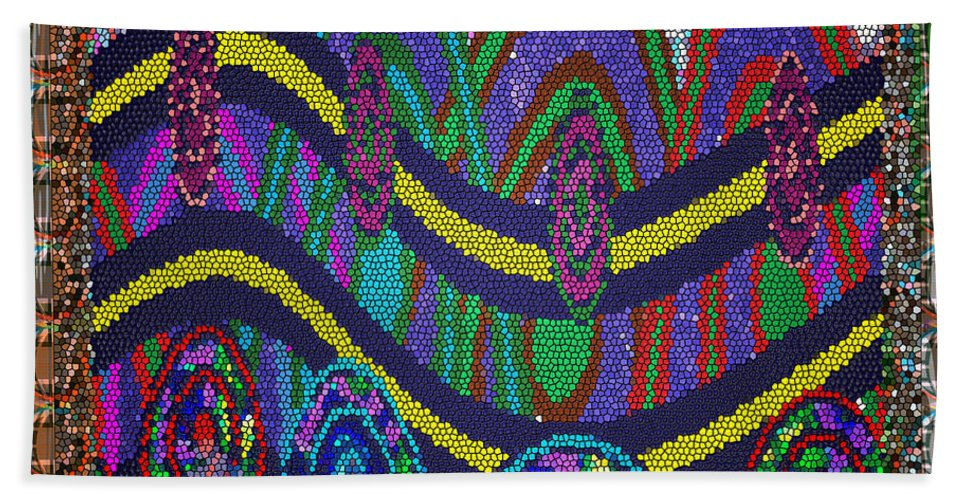 Ethnic Hand Towel featuring the mixed media Ethnic Wedding Decorations Abstract Usring Fabrics Ribbons Graphic Elements by Navin Joshi
