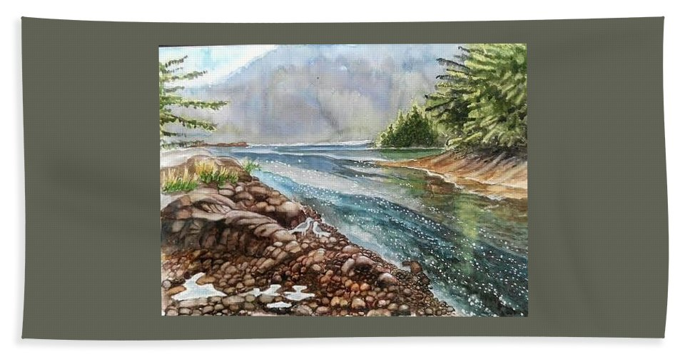 River Bath Sheet featuring the painting Evening By The River by Ramesh Mahalingam
