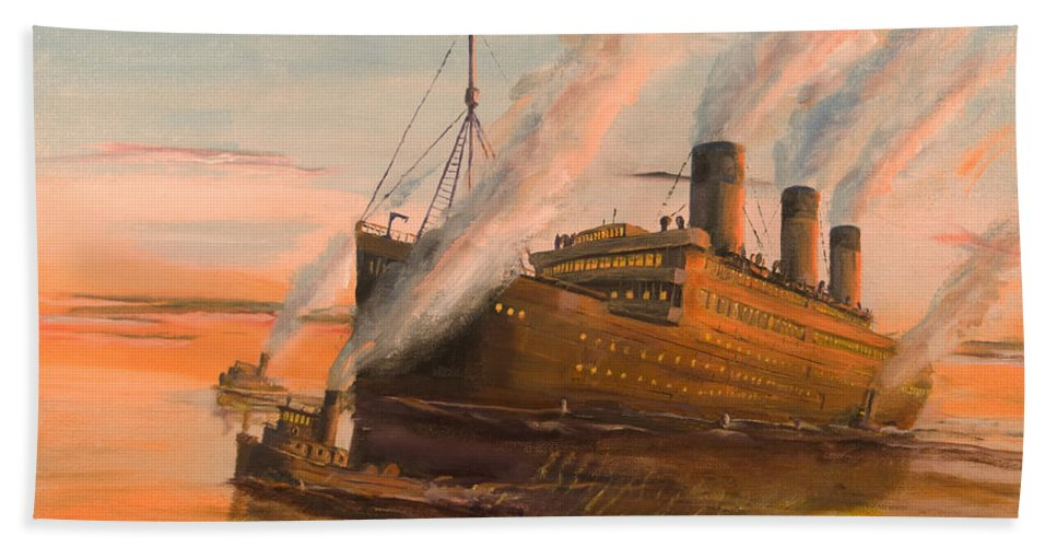 Ship Bath Sheet featuring the painting Evening Departure by Christopher Jenkins