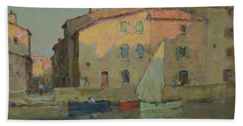 Terrick John Williams (1860-1936) 'evening Bath Sheet featuring the painting Evening Martigues by John Williams