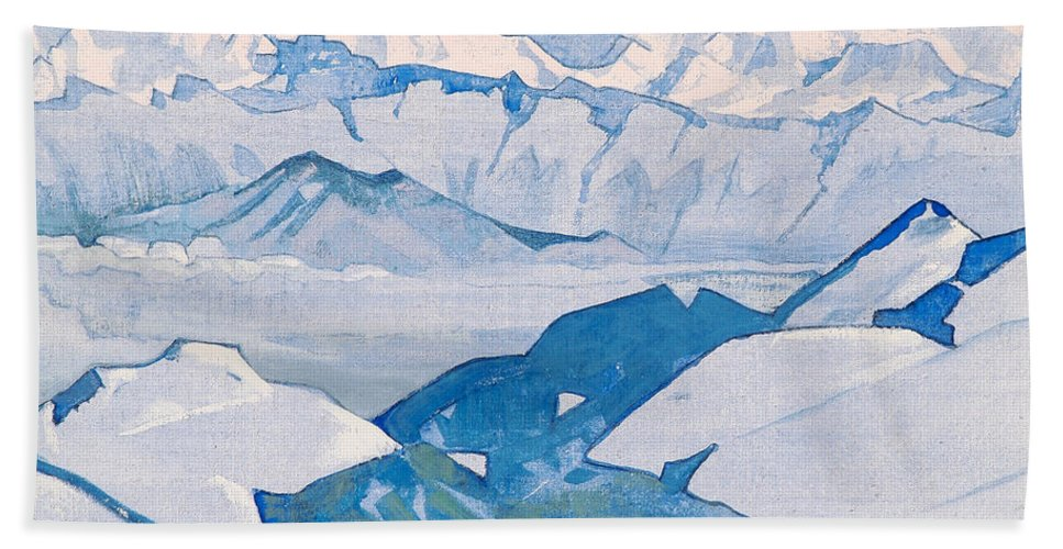 Country Hand Towel featuring the painting Everest Range by Nicholas Roerich