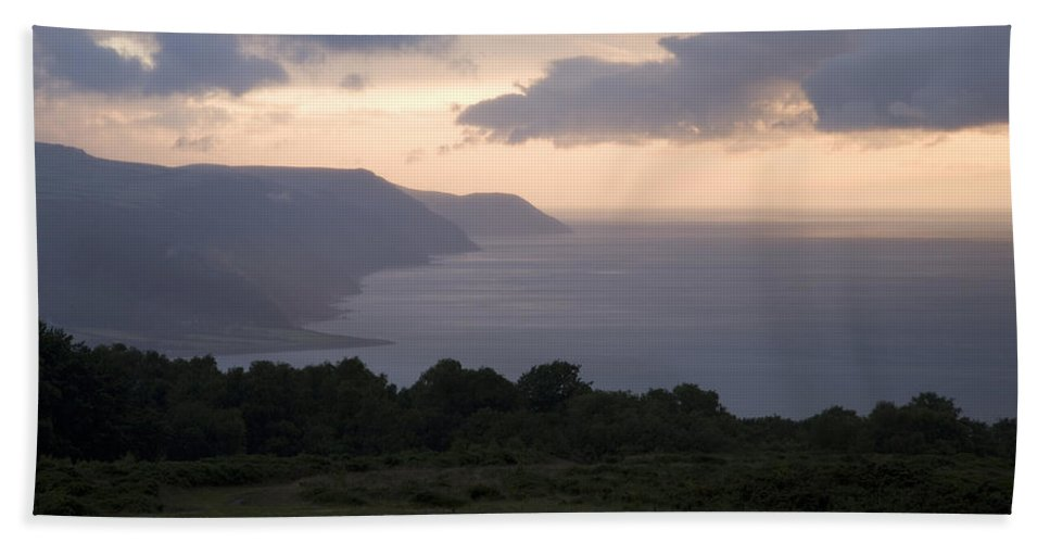 Exmoor Hand Towel featuring the photograph Exmoor Coast At Sunset by Ian Middleton
