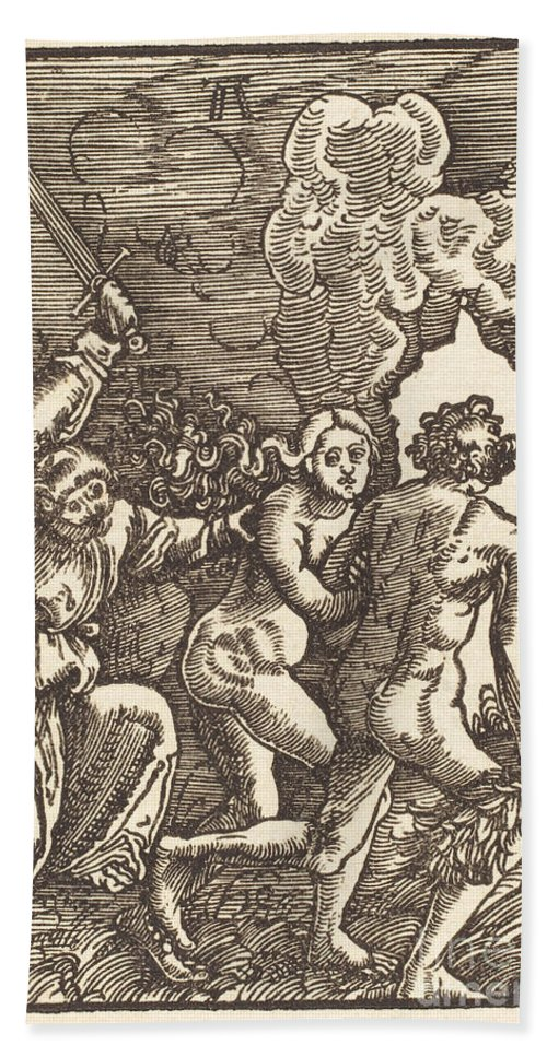 Hand Towel featuring the drawing Expulsion From Paradise by Albrecht Altdorfer